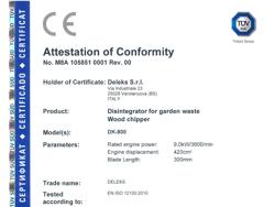 biotrituratore a scoppio professionale per la produzione di cippato mod dk 800 lf