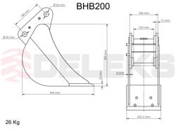 benna per miniescavatore bhb 200