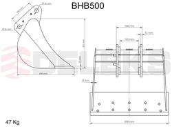 benna per miniescavatore bhb 500